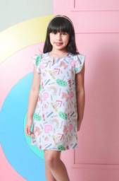 Vestido Infantil Trapézio com Estampa de Desenhos 2, 4 e 6 anos
