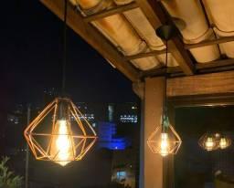 Dois pendentes diamantes bronze com lâmpadas de filamento LED retrô