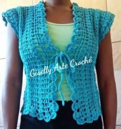 Colete feminino de crochê