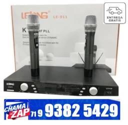 Microfone Sem Fio Profissional Duplo Uhf Digital 911