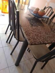 Mesa mármore com 6 cadeira