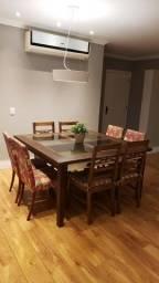 Mesa jantar quadrada 150x150 e 8 cadeiras