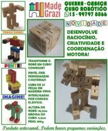 Cubo Robótico - Robô de Madeira - Quebra Cabeças Artesanal + Kit Pintura
