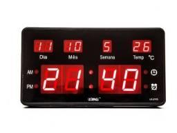 Relógio De Parede Led Digital Le-2115 Lelong Temperatura Calendário Alarme - Temos Motoboy
