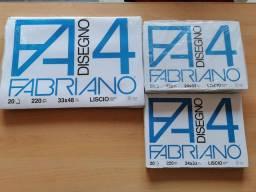 Papel Fabriano 4L 220g A3 A4 liscio bloco 20 folhas