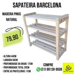 Sapateira em Madeira Pinus modelo Barcelona