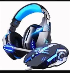 Barbada NOVO Fone Ouvido Headset Gamer E Mouse Gamer Mic 3200dpi Com Led