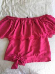 Blusa rosa ombro a ombro