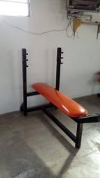 Banco reto fitness com apoio para peso, cor laranja