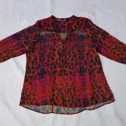 Blusinha leve de oncinha rosa e laranja