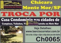 Troca Chácara Monte Mor com 1936m² e 200m² constr. Por Casa (Veja Detalhes na Descrição An
