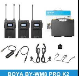 BOYA BY-WM8 Pro-K2 é um UHF Dual-Channel Sistema de Microfone Sem Fio LEIA O ANÚNCI