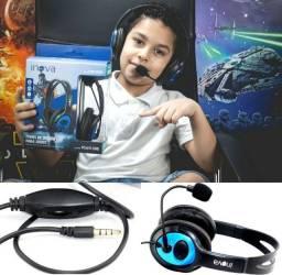 Fone Headset Inova Com Microfone Retrátil e Conector P3 Para Celular Computador Notebook