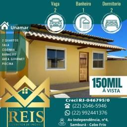 Título do anúncio: RI Casa 2 dormitórios à venda, por R$ 150.000 - Unamar - Cabo Frio/RJ