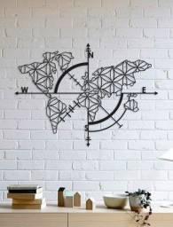 Quadro Decorativo Parede Mapas Bússola Flor Da Vida 1,20m