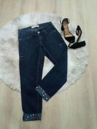 Calça jeans feminina skinny customizada