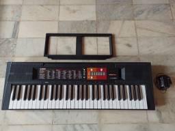 Kit Teclado Musical Yamaha Psr-f51 61 Teclas Suporte Base + Capa + Fonte Bivolt