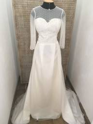 Vestido de noiva NOVO organdi e renda