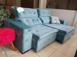 Sofá Esplendore Retrátil/Reclinável Azul Tifanny 2.30m