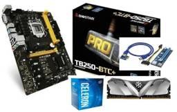 Kit placa mãe mineração TBC250+/Processador/memória/Risers