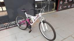 Bicicleta aro 26- 21 marchas- dupla suspensão trocador rapid fire