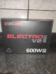 FONTE PCYES ELECTRO V2 600W 80PLUS WHITE - NOVO
