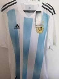 Camisa Argentina Nova Tamanho G Modelo Jogador 5406dbab0a00c