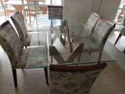 Mesa de jantar, 6 cadeiras 1x2m