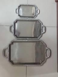 KIT 3 bandejas retangulares inox