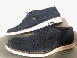 Sapato Masculino Mocassim Camurça Azul Marinho
