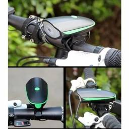 Farol Led De Bike Recarregável Usb Com Buzina 140db Ip65<br>