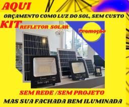 kit painel solar led+acessorios e refletor, sem rede energia