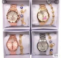 Relógios femininos + Pulseiras e Acompanha Caixa ( LEIA A DESCRIÇÃO )