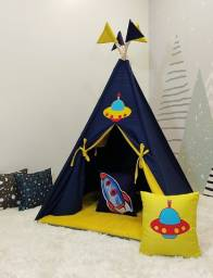 Barraca Infantil Tenda Cabana Artesanal Com Colchonete e Bandeirinhas