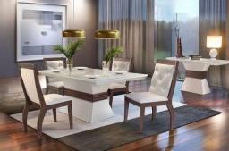 Título do anúncio: Mesa de Jantar Ágata Rufato 4 Cadeiras com tampo + Vidro - Entrega Imediata;