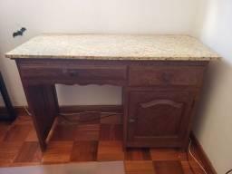 Escrivaninha madeira maciça tampo granito