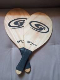 Kit frescobol raquete em madeira