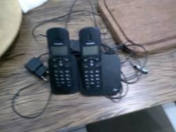 Telefone sem fio com dois aparelhos