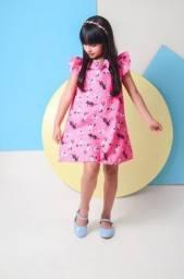 Vestido Infantil Trapézio Rosa Estampa de Gatinhos 8, 10 e 12 Anos