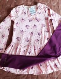 NOVO - Cjto Momi Calça Legging e Blusa comprida de babado Tamanho 8