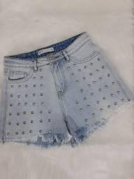 Título do anúncio: Short jeans com tachas Tam 36