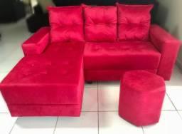 Estofado Sofá 2L com chaise fixa. Com almofadas removíveis + PUFF. Peça o seu