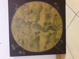 Quadro de Dragão em alto relevo 80 x80 cm