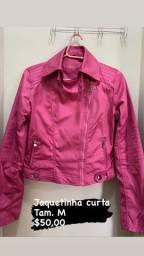 Jaquetinha pink tam. M /Blusãozinho Forever M/ Blazer
