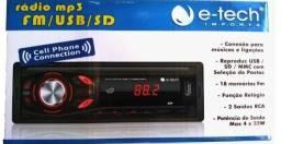 Rádio E-Tech USB/SD/BT/FM + INSTALAÇÃO !! Em até 3x sem juros!
