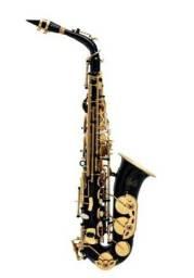 Saxofone halk preto e dourado