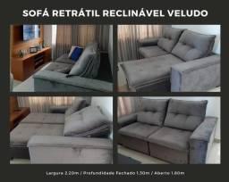 Sofá retrátil e reclinável veludo