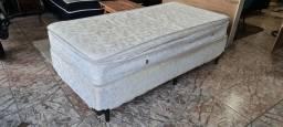 Título do anúncio: Cama box solteiro base e colchão mola bem conservado - ENTREGO