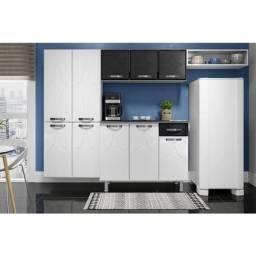 Cozinha completa de aço preto com branco