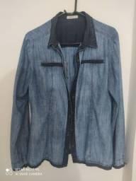 Camisa  jeans Tam G de mangas compridas com botões
